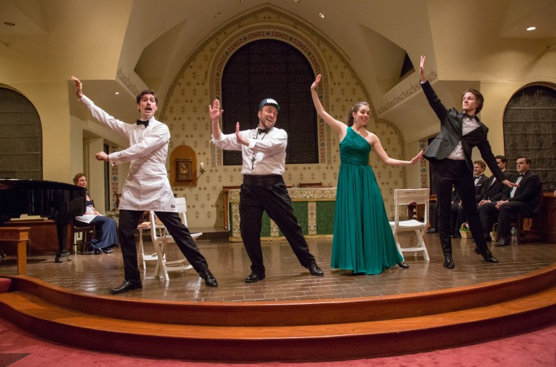 """The Streets of New York"" from Herbert's ""The Red Mill"": Drew Bolander (Kid Conner), Matthew Wages (Con Kidder), Sarah Caldwell Smith (Gretchen van Borkem), Christopher Robin Sapp (Dori van Damm) [left to right] (Photo: Jill LeVine)"