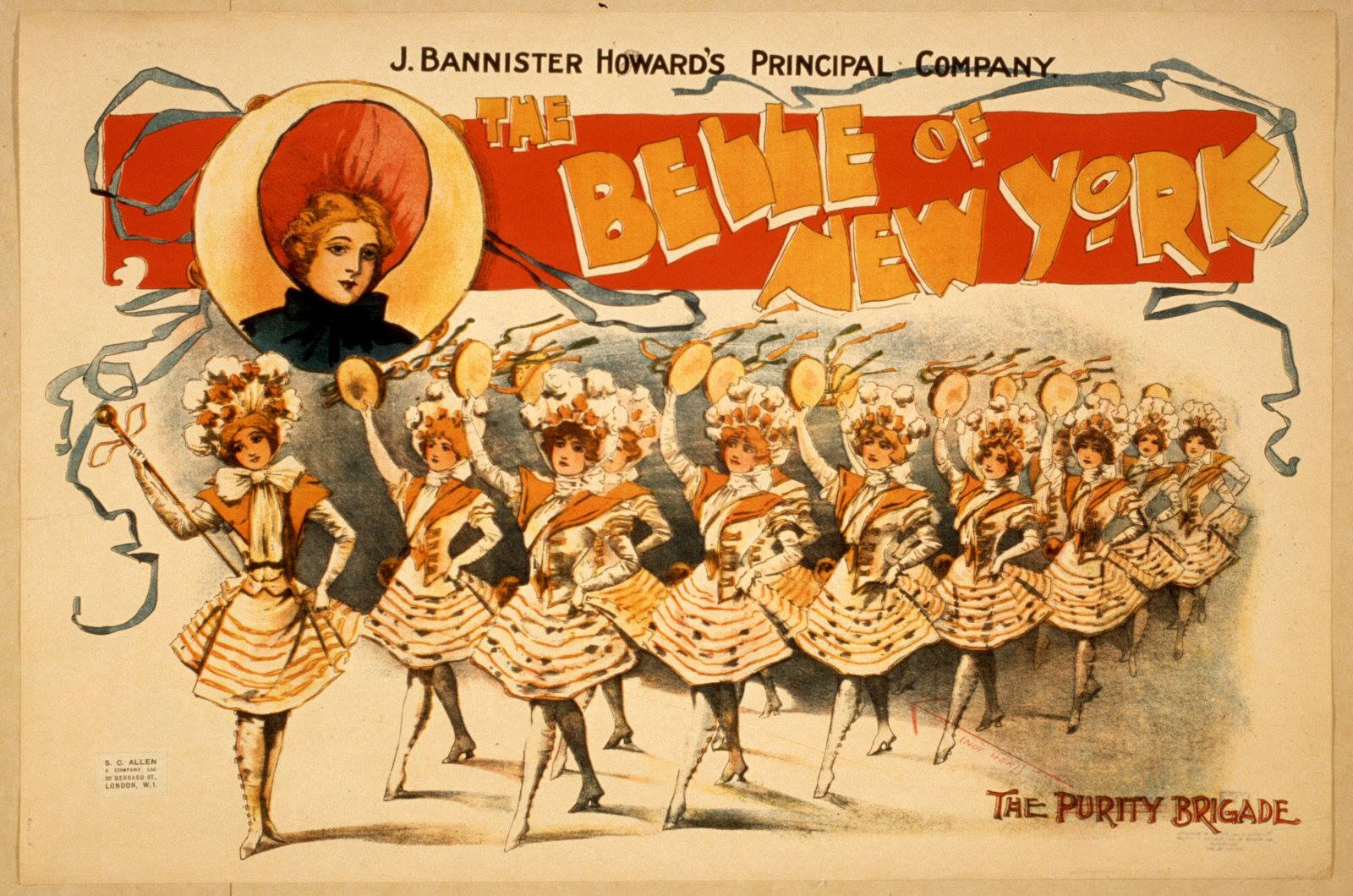 "Poster for the ""Belle of New York"" featuring the so called ""Purity Brigade."" (Photo: Collection Dario Salvi)"
