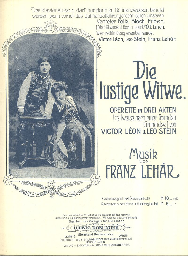 "The 1906 piano score for ""Die lustige Witwe"" with Mizzi Günther and Louis Treumann on the cover. (Doblinger Publishing)"