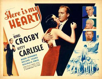 "The 1934 movie poster ""Here Is My Heart"" starring Bill Crosby and Killy Carlisle."