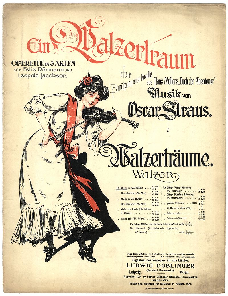 "Sheet music cover for Oscar Straus' ""Ein Walzertraum."""
