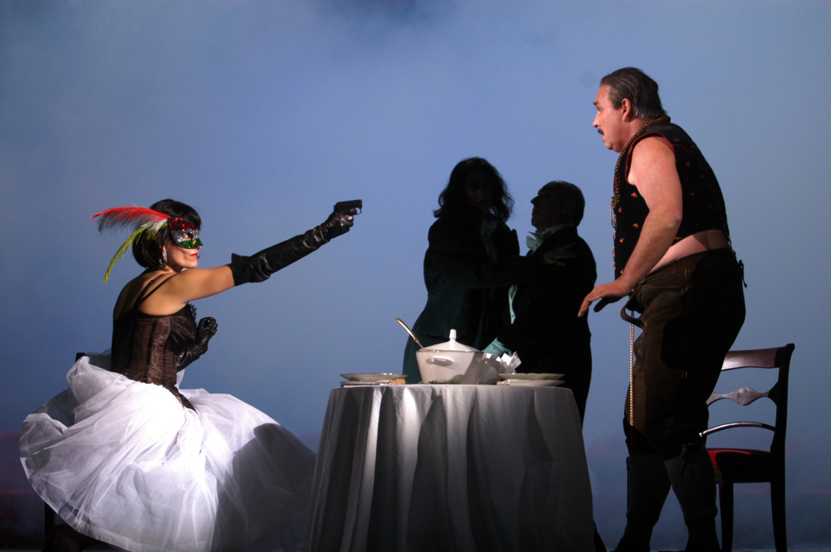 "Camilla Nylund (Rosalinde) and Hans-Joachim Ketelsen (Gabriel von Eisenstein) in Dresden's ""Die Fledermaus"" at Semperoper in 2003. (Photo: Matthias Creutziger)"