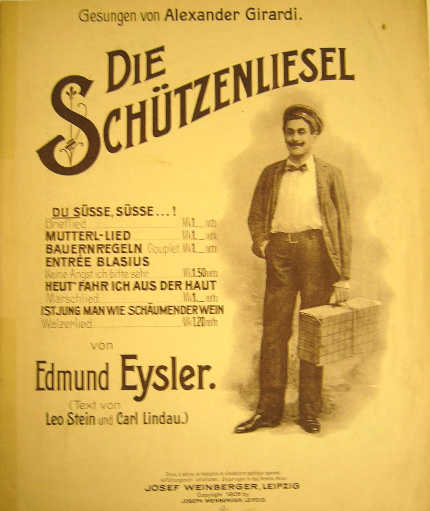 "Sheet music for Eysler's ""Schützenliesel"" with Alexander Girardi on the cover."