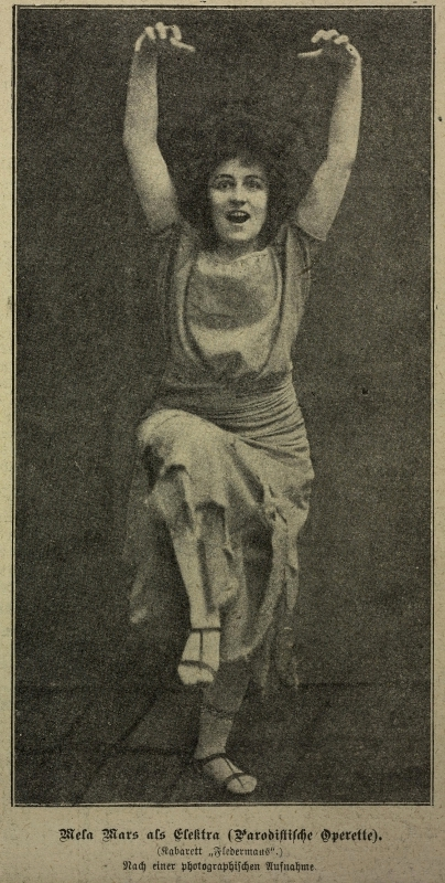 "Mela Mars as Elektra in Béla Laszky's 1910 operetta of the same title. (Photo: ""Das interessierte Blatt 29"" Nr. 1, 6.1.1910)"