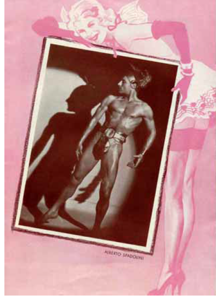 "A pretty lady in pink holding a photo of Alberto Spadolini in the ""Lustige Witwe"" program book, 1940. (Photo: Atelier Alberto Spadolini)"