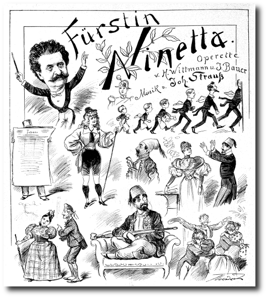 "Newspaper drawing for Strauss' ""Fürstin Ninetta."" (Photo: Archive Marion Linhardt)"
