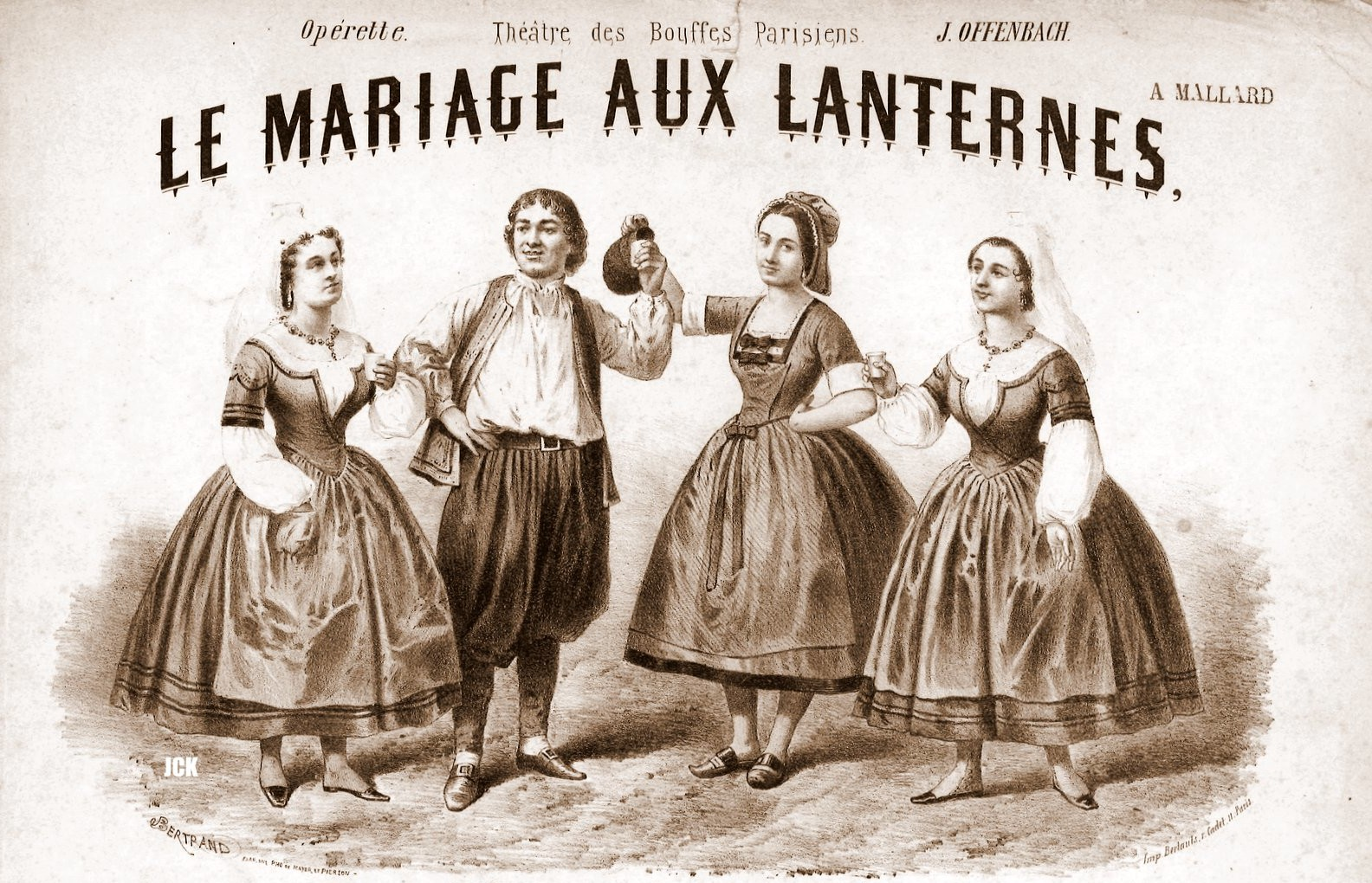 "Sheet music cover for Offenbach's ""Le mariage aux lanternes."""