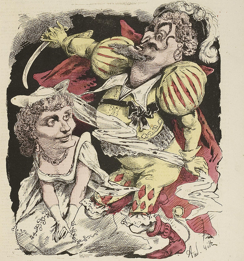 "Cover of ""L'Eclipse"" 1868 with cartoon by Gill of Dupuis and Hortense Schneider in Offenbach's ""Barbe bleue"" at the Variétés theater."