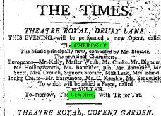 "Announcement in ""The Times"" for ""The Cherokee"" at the Theatre Royal Drury Lane in London. (Photo: Kurt Gänzl Archive)"