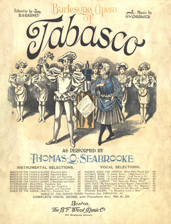 "Sheet music cover for ""Tabasco,"" the ""Burlesque Opera"" of 1894."