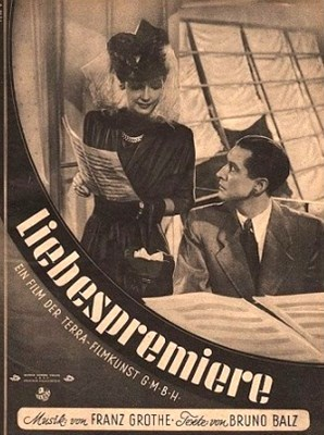 "A magazine cover featuring the 1943 film ""Liebespremiere"" starring Kirsten Heiberg (l.) and Hans Söhnker as Axel."