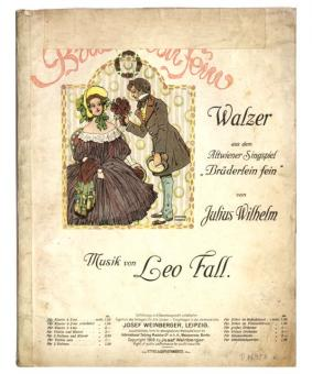 "A piano score for Leo Fall's ""Brüderlein fein,"" showing the rejuvinated Mr. and Mrs. Drechsler."