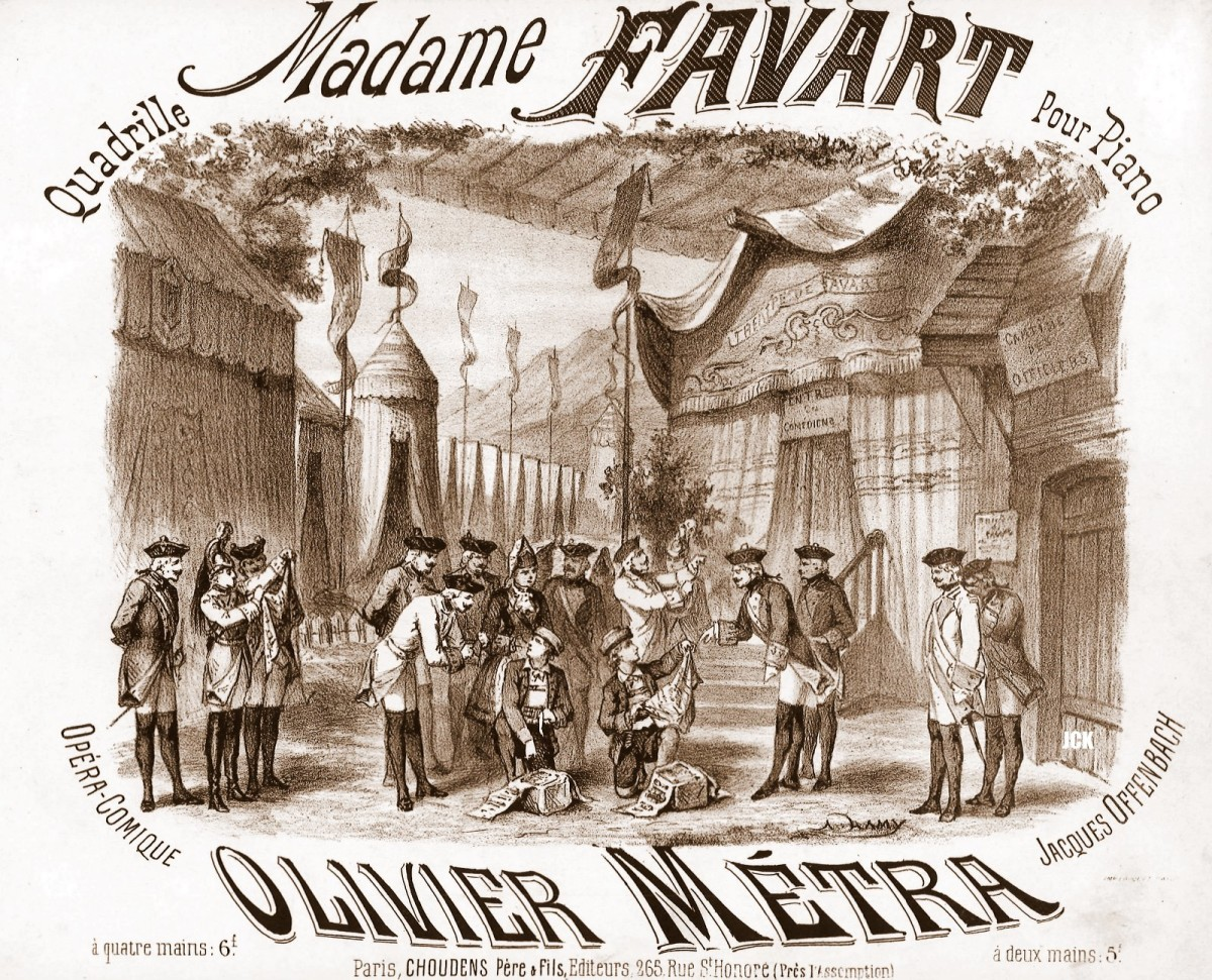 "Sheet music cover for Offenbach's 1878 ""Madame Favart."""