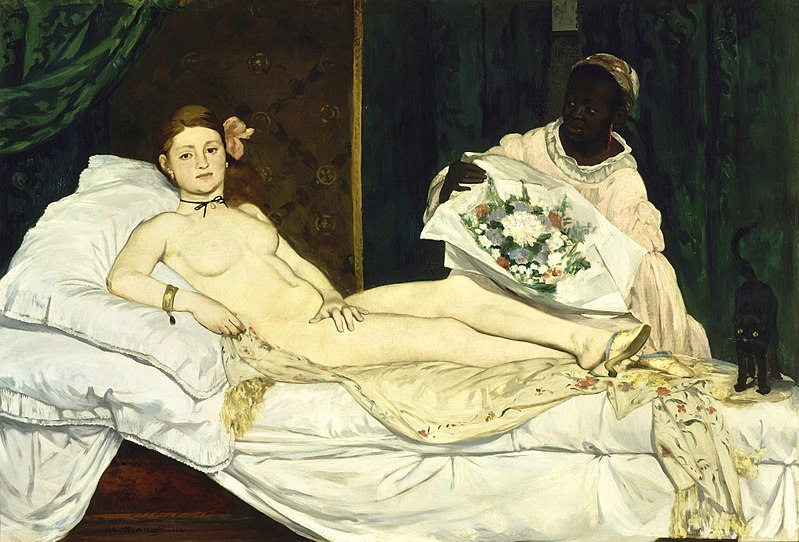 "Edouard Manet's ""Olympia"" (1863) presenting herself nude and unashamed to her customers."