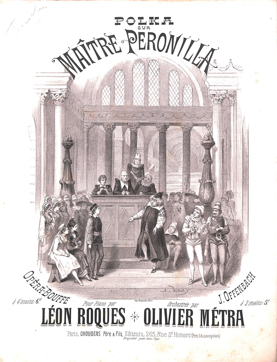 "Sheet music cover for Offenbach's 1878 ""Maître Péronilla."""