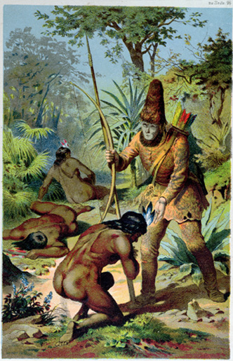 Crusoe standing over Friday after he frees him from the cannibals. Drawing by Carl Offterdinger (1829-89).