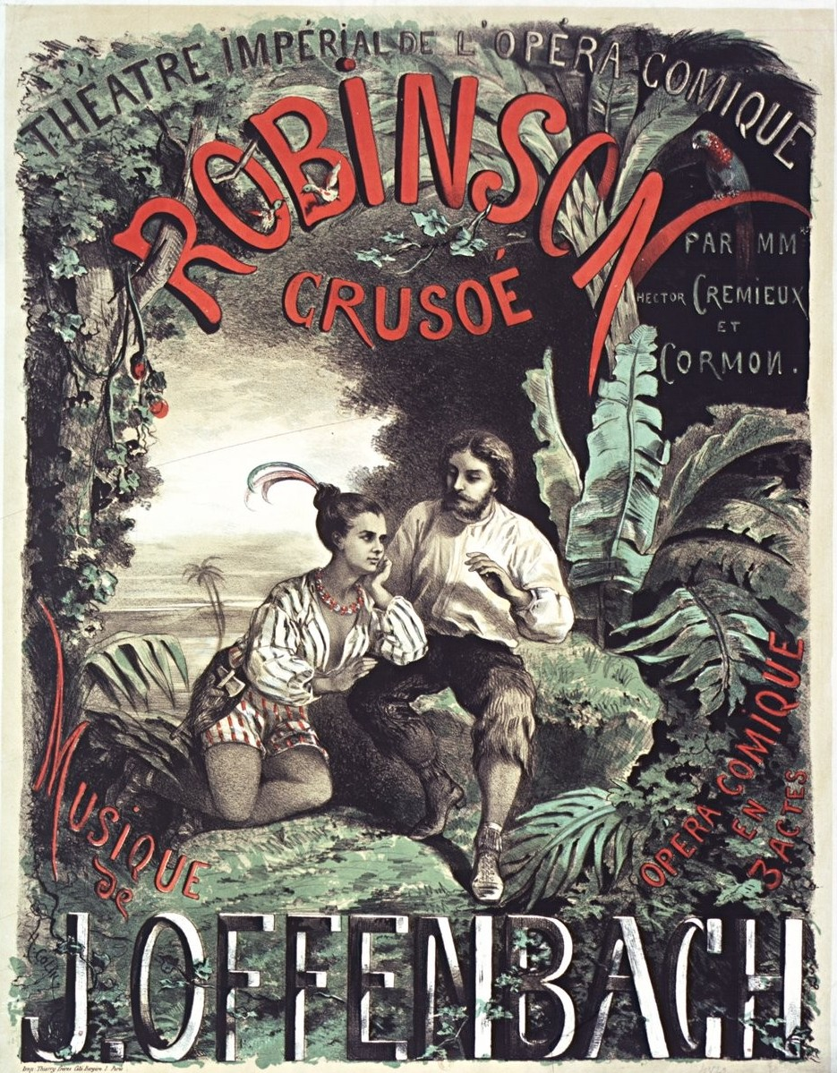 "Poster for the 1867 production of Offenbach's ""Robinson Crusoe"" at the Opéra-Comique in Paris."