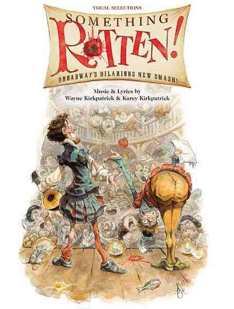 "Poster for the Shakespeare musical ""Something Rotten!"" that uses simular visuals as Stefan Herheim in ""Blaubart."""