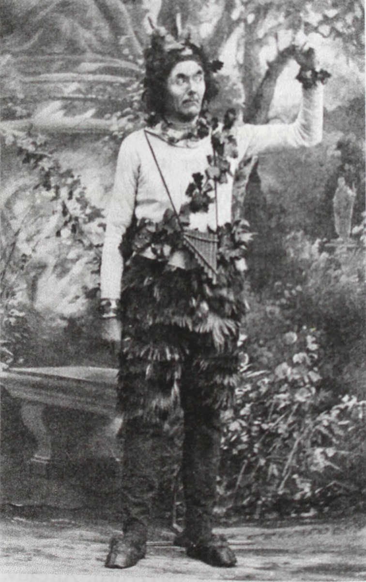 "Famous Austrian playwrite Johannes Nestroy as God Pan in Offenbach's ""Daphnis und Chloe"" in Vienna. (From: Laurence Senelick, ""Jacques Offenbach and the Making of Modern Culture,"" 2018)"