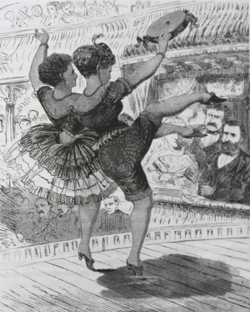 """President Grant and Jim Fisk watch """"La Périchole"""" at the Fifth Avenue Theater in New York, 1869. As shown in the """"Illustrated Police Gazette."""" (From: Laurence Senelick, """"Jacques Offenbach and the Making of Modern Culture,"""" 2018)"""