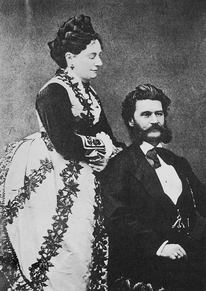 A portrait of Jetty and Johann Strauss.
