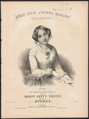"Sheet music cover for ""Away Now Joyful Riding"" showing Jetty Treffz as the singer of that song."