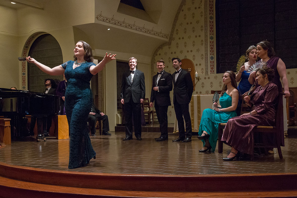 "Jovani Demetri, Jane Hoffman, Colm Fitzmaurice, Jonathan Fox Powers, Andrew Troup, Sonora Dolce, Haley Vick, JoAnna Geffert, Susan Case in ""The Enchantress,"" 2018. Here you see them perform ""Art Is Calling For Me."" (Photo: Jill LeVine)"