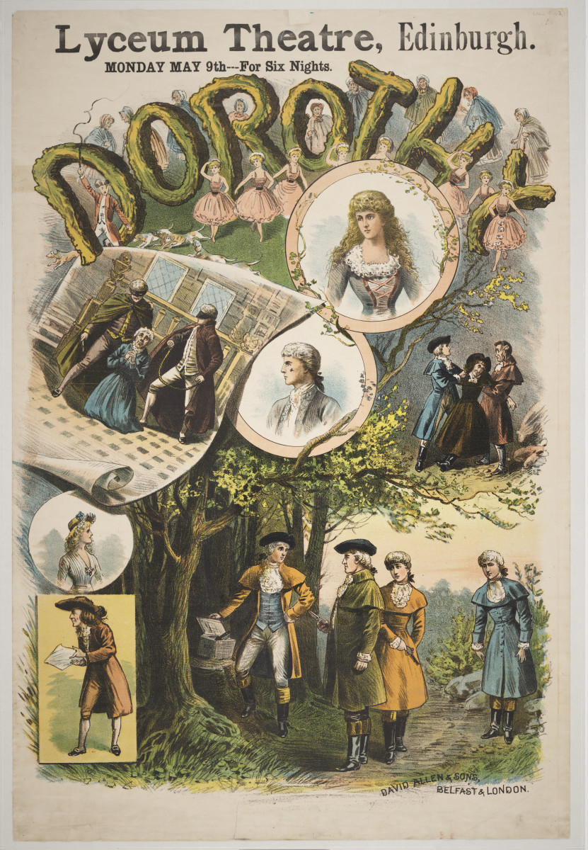"Poster for ""Dorothy"" production at the Royal Lyceum Theatre, Edinburgh, 1887."