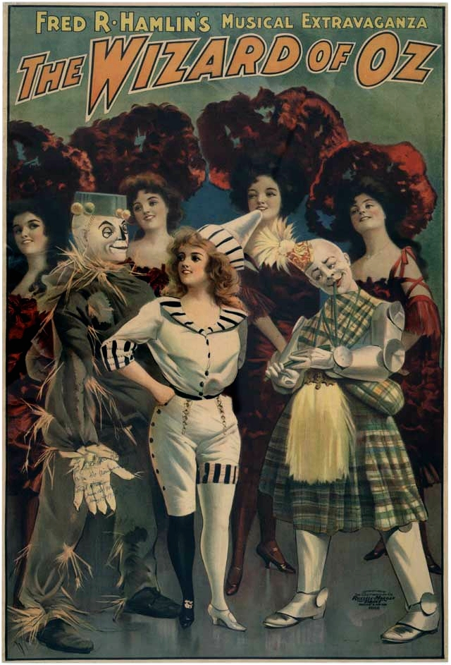 "One of many promotional posters for the original ""musical extravaganza"" on Broadway, including a Tin Man (in a Scottish kilt and minus his funnel hat)."