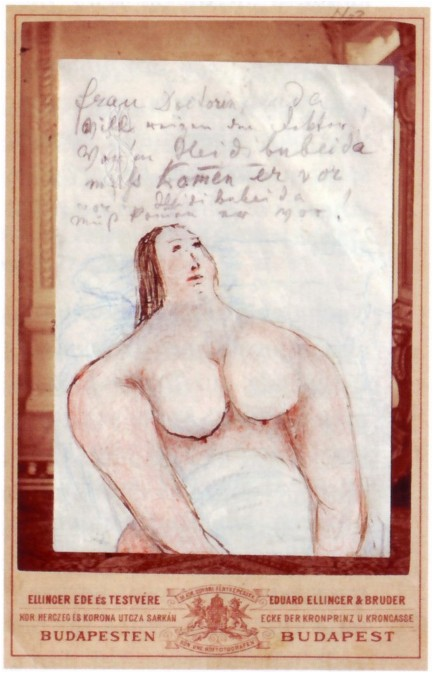 "The 1878 drawing by Johann Strauss showing an opulently proportioned lady. He sent this card entitled ""Auf der Seehundjagd in Wyk auf Föhr"" to his lawyer Dr. Max Neuda; it shows Mrs. Neuda and contains a highly suggestive poem."