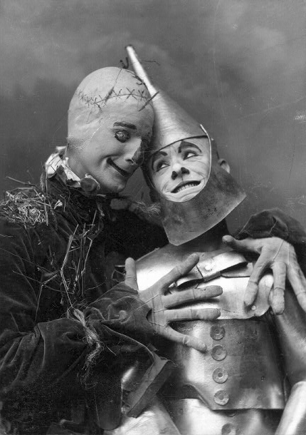 "Famous comedy duo Fred Stone as the Scarecrow and David C. Montgomery as the Tin Man in ""The Wizard of Oz,"" 1902."