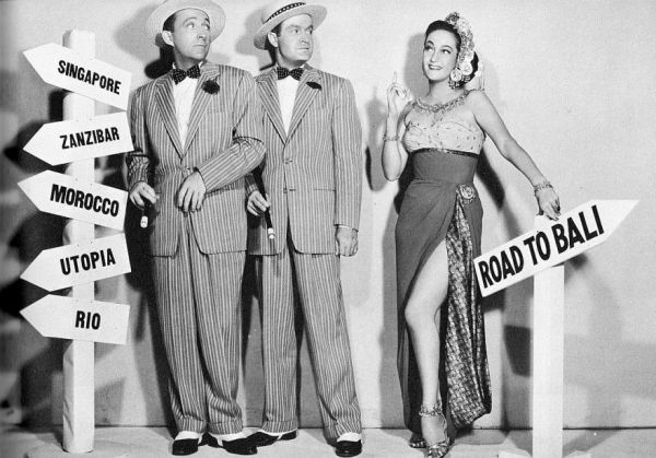 "A promotion picture for the Bob Hope & Bing Crosby ""Road to"" movie series."