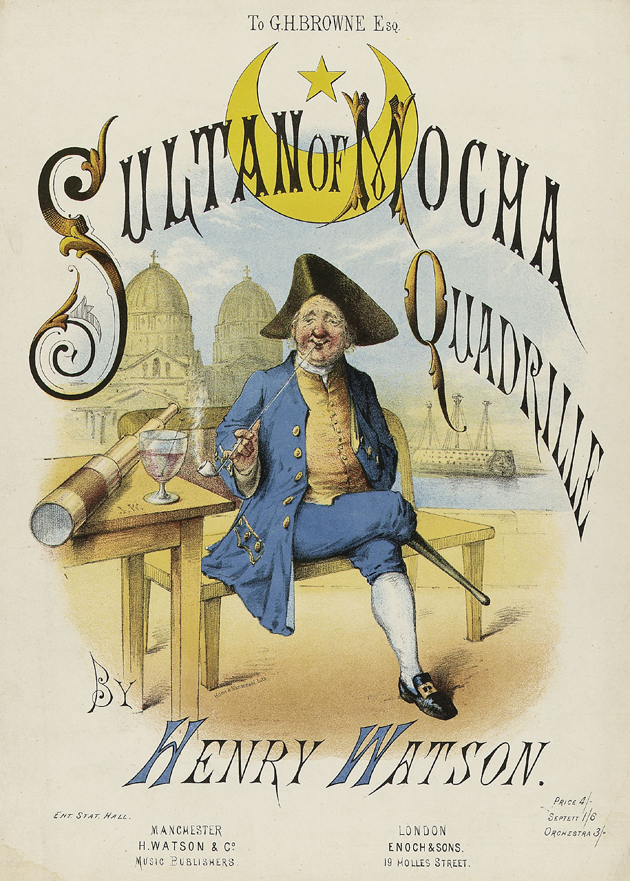 "Sheet music cover for ""The Sultan of Mocha."""