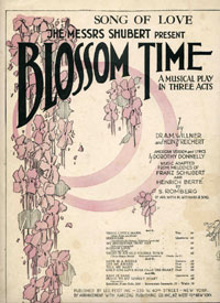 "Sheet music cover for the 1921 ""Blossom Time,"" produced by the Shibert Brothers on Broadway."