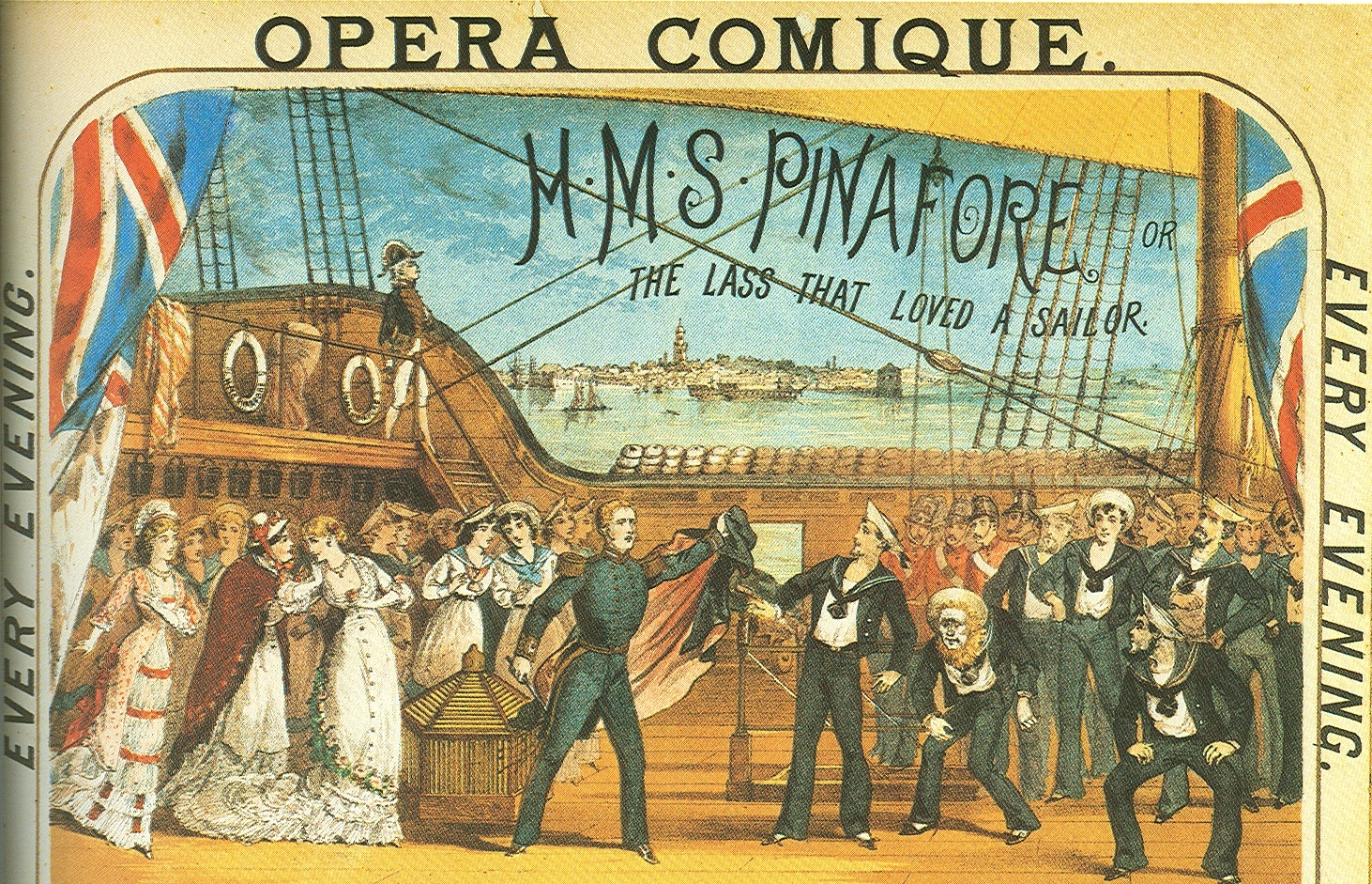 "Poster illustration from original 1878 production of ""H.M.S. Pinafore"" at the Opera Comique."