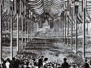 Strauss's concert at the Peace Juilee Festival Hall in Boston, 1872. Jetty Treffz helped organize this US tour and joined her husband on the trip.