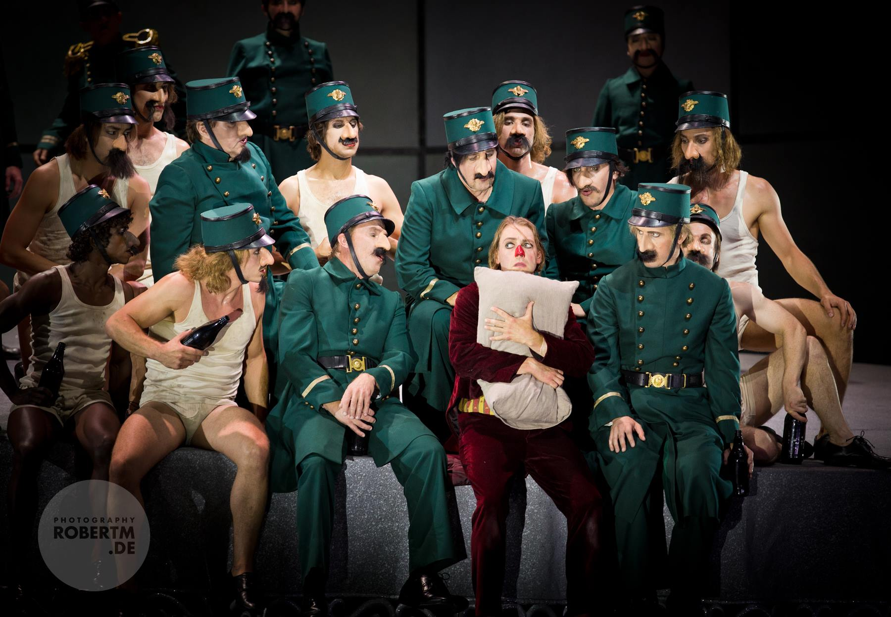 "Trying to blend in: Günter Papendell and the ensemble of Komische Oper in ""Die Nase."" (Photo: Robert M Berlin)"