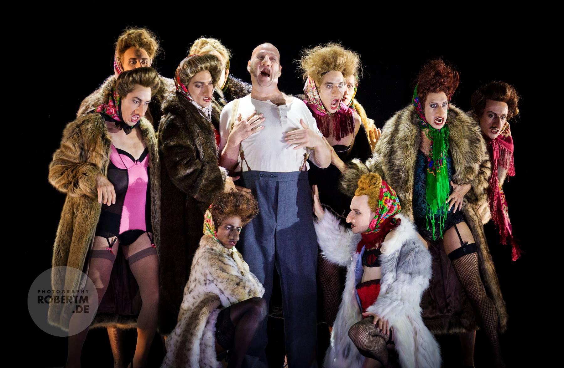 "Jens Larsen and the ""ladies"" of the ballet in ""Die Nase."" (Photo: Robert M Berlin)"