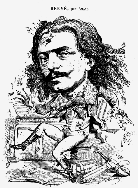 "Hervé as the ""compositeur toqué"" at a Café-Concert, 26 mai 1867. (Photo: Palazzetto Bru Zane)"