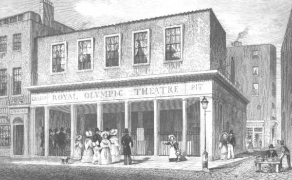 1831 engraving of the Royal Olympic Theatre.