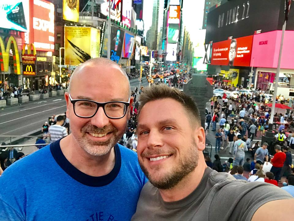 Composer Thomas Zaufke (left) and Florian Klein on Times Square, 2018. (Photo: Private)