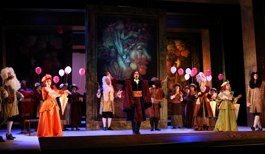 "The ensemble in ""Der Bettelstudent"" at Theater Pforzheim. (Photo: Sabine Haymann)"