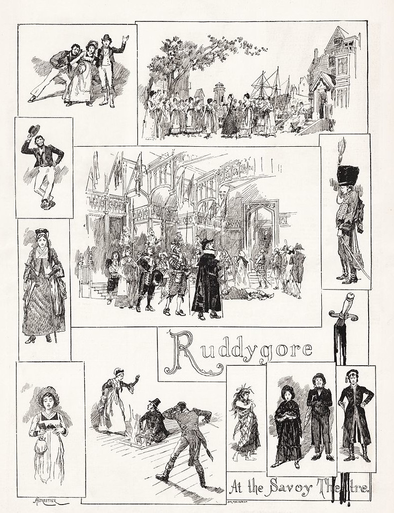 "Amédée Forestier's illustration of scenes from ""Ruddygore"" in ""The Illustrated London News""."
