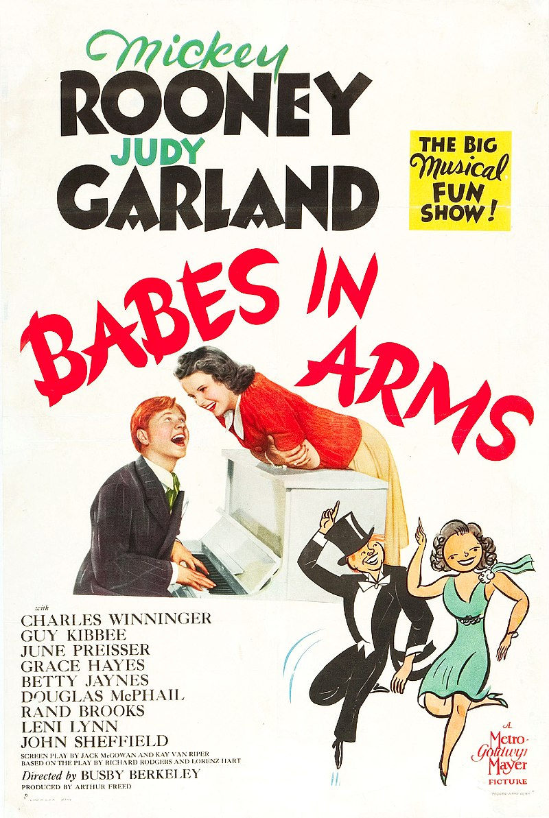 "Poster for the 1939 MGM film version of ""Babes in Arms"" starring Judy Garland and Mickey Rooney."