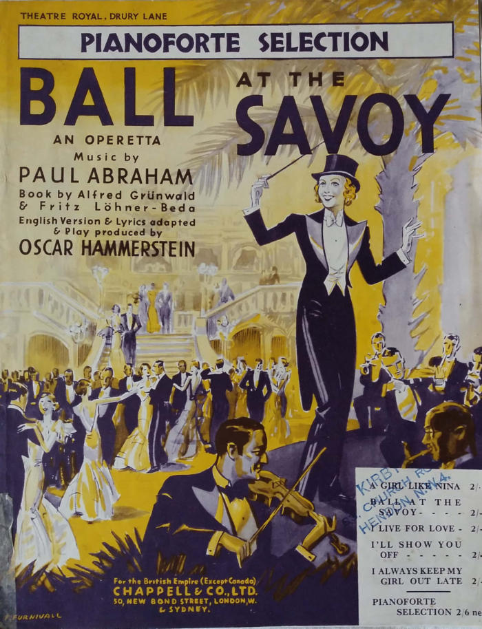 "The London version of Abraham's ""Ball at the Savoy"" with lyrics by Oscar Hammerstein II, showing Rosy Barsony on the cover."
