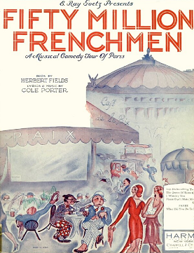 "Sheet music cover for Cole Porter's ""Fifty Million Frenchmen,"" 1929."