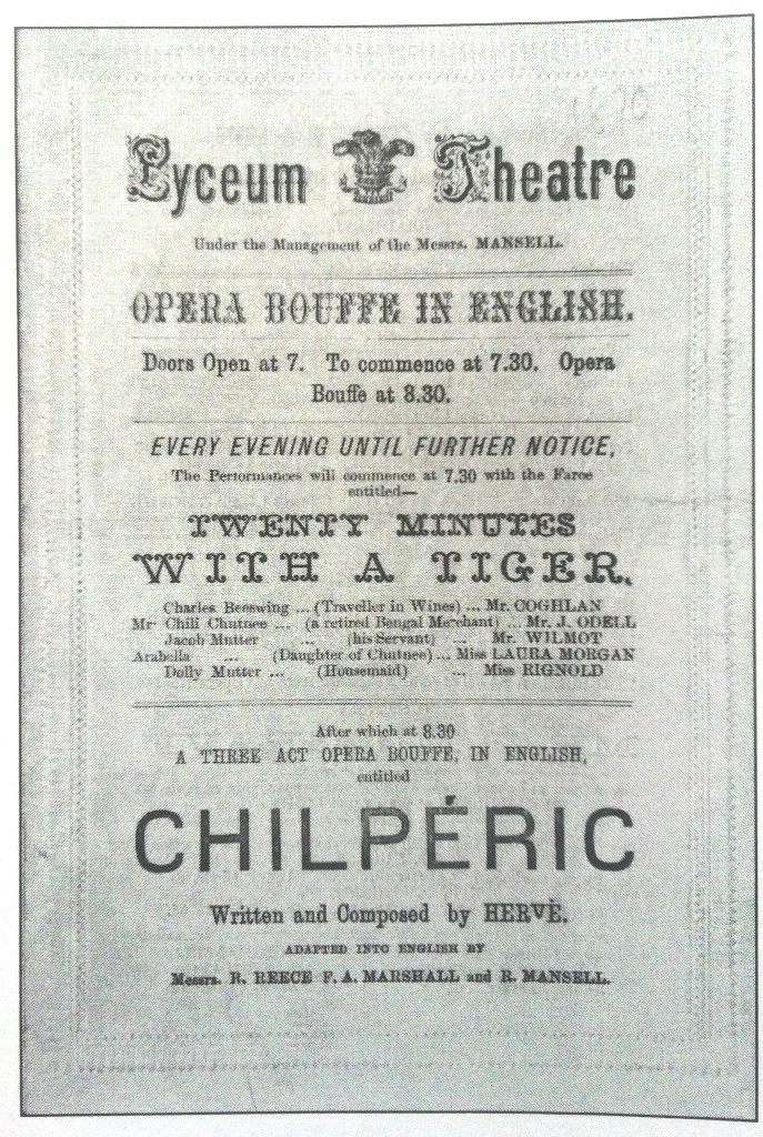 "Poster announcing ""Chiléric"" at the Lyceum Theatre, London, with Hervé in the title role. (Photo: Archive Kurt Gänzl)"
