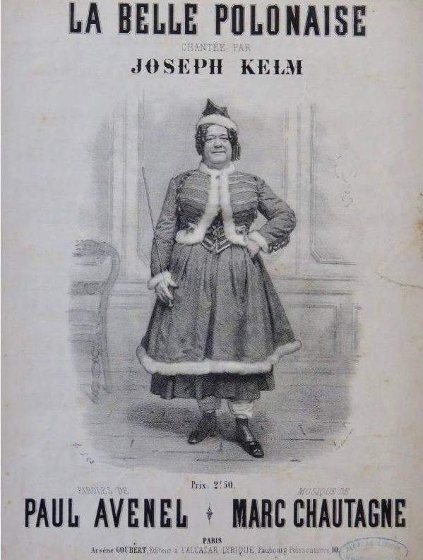 "Joseph Kelmn as ""La Belle Polonaise"" on a sheet music cover."