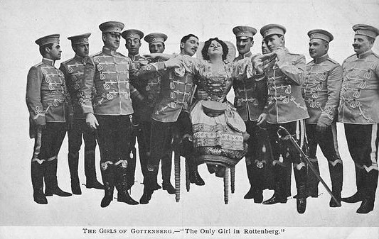 "Historic postcard advertising ""The Girls of Gottenberg"" with music by  Ivan Caryll and Lionel Monckton."