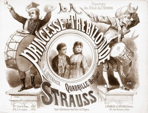 "Sheet music cover of a ""quadrille brillant"" put together by Strauss with tunes from Offenbach's ""Princesse de Trébizonde."""